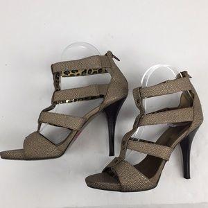 Bisou Bisou Metallic cage stiletto heels Sz 7.5